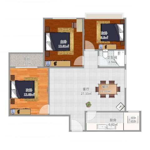 金海花园两房户型图3室1厅1卫1厨93.00㎡户型图