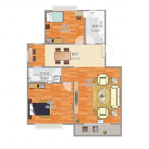 金地湾流域2室1厅1卫1厨110.00㎡户型图