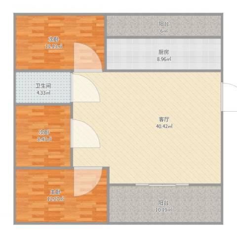 丽日豪庭3室1厅1卫1厨138.00㎡户型图