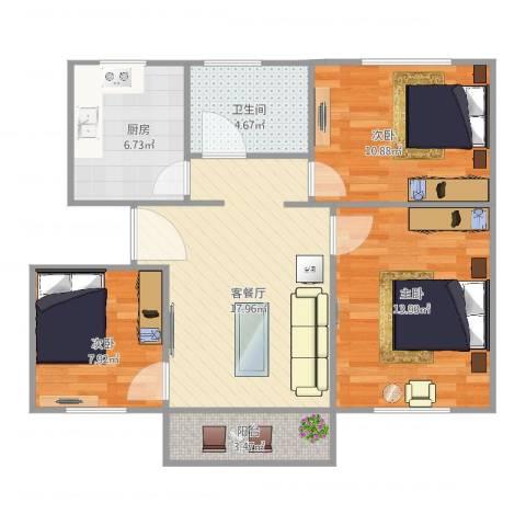 双狮山港务宿舍3室2厅1卫1厨89.00㎡户型图