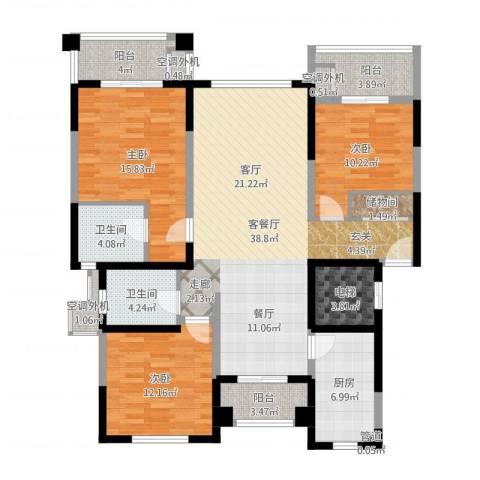 宝宸怡景园3室2厅2卫1厨139.00㎡户型图