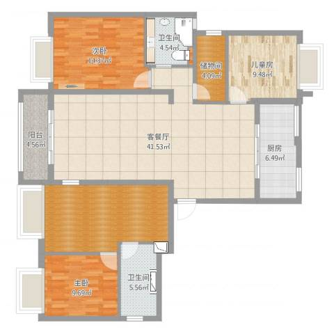 金汇紫薇苑3室2厅4卫1厨147.00㎡户型图