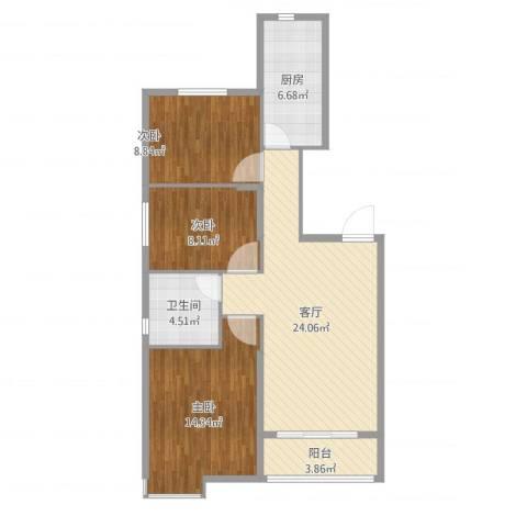 恒大御景湾15#3室1厅1卫1厨88.00㎡户型图