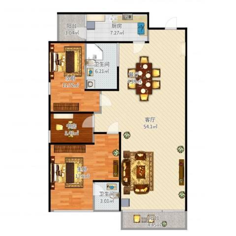 芳景阁3室1厅2卫1厨141.00㎡户型图