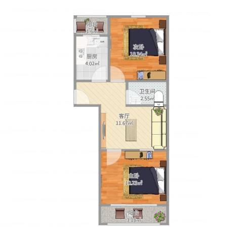 平乐园小区2室1厅1卫1厨54.00㎡户型图