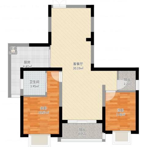 南博湾花园2室2厅1卫1厨81.00㎡户型图