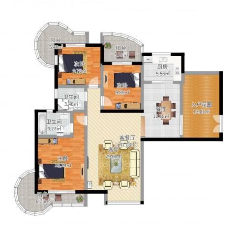 东方巴黎3室2厅2卫1厨176.00㎡户型图