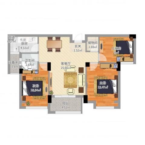 亚特蓝郡3室2厅2卫2厨92.00㎡户型图