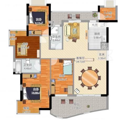 钰海山庄4室2厅2卫1厨144.00㎡户型图