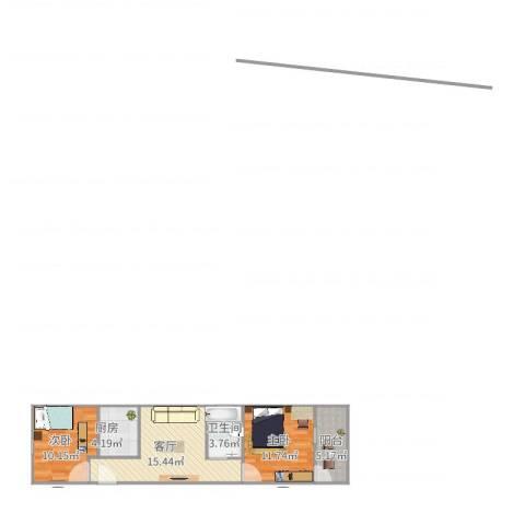 莘松五村2室1厅1卫1厨69.00㎡户型图