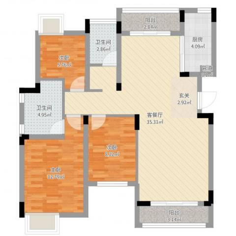 汉港凯旋城3室2厅2卫1厨100.00㎡户型图