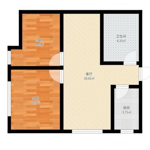 帝都大公馆2室1厅1卫1厨61.00㎡户型图