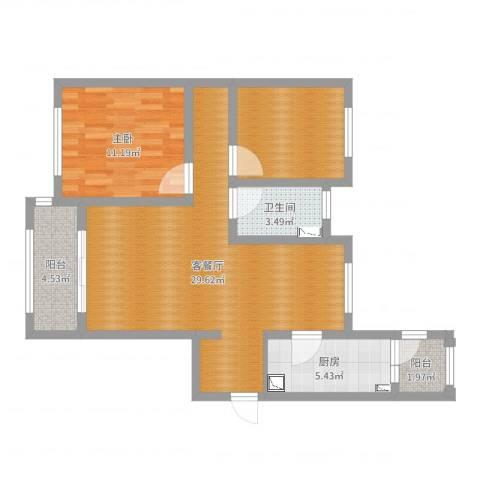 鹏欣一品漫城四期公寓1室2厅1卫1厨81.00㎡户型图