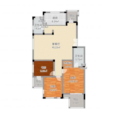 万科西街庭院3室2厅2卫1厨143.00㎡户型图