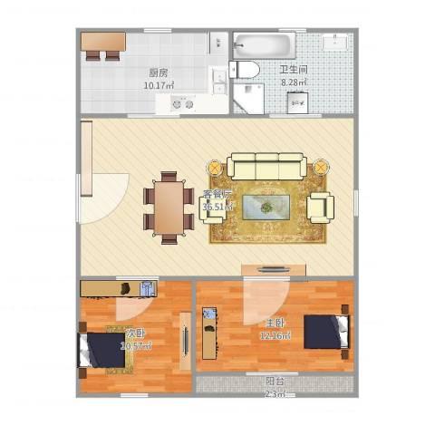 芳华苑329弄23号501室2室2厅1卫1厨107.00㎡户型图