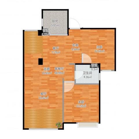 恒文星尚湾1室2厅1卫1厨101.00㎡户型图