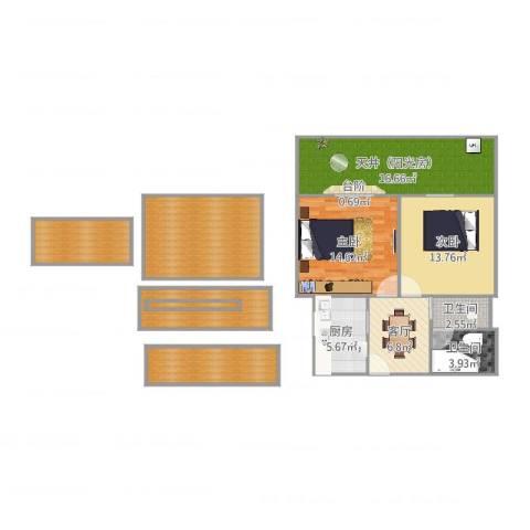 解放新村2室1厅2卫1厨121.00㎡户型图