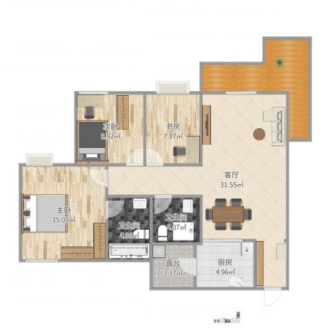 锦绣香江紫荆雅园1073室1厅2卫1厨112.00㎡户型图
