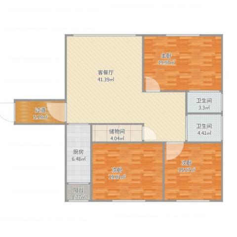 定西路1235弄小区3室2厅2卫1厨161.00㎡户型图