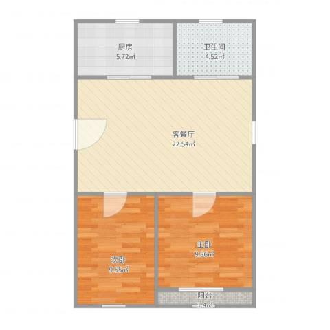 芳华苑329弄23号501室2室2厅1卫1厨72.00㎡户型图