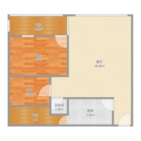 明珠广场2栋2023室1厅1卫1厨78.00㎡户型图