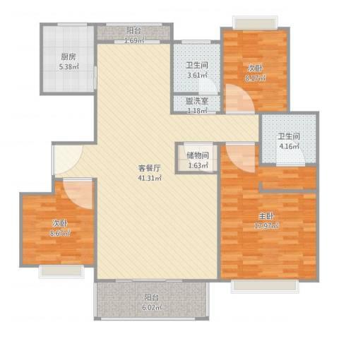 怡和花园3室4厅2卫1厨125.00㎡户型图