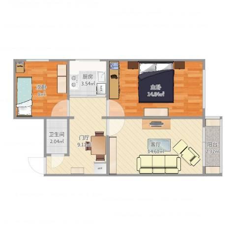 新明胡同住宅2室1厅1卫1厨68.00㎡户型图