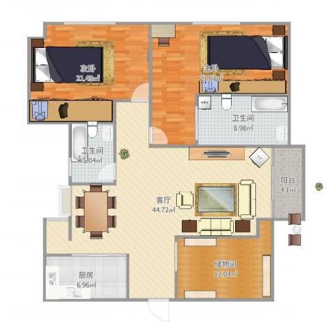 台亚大厦2室1厅2卫1厨159.00㎡户型图