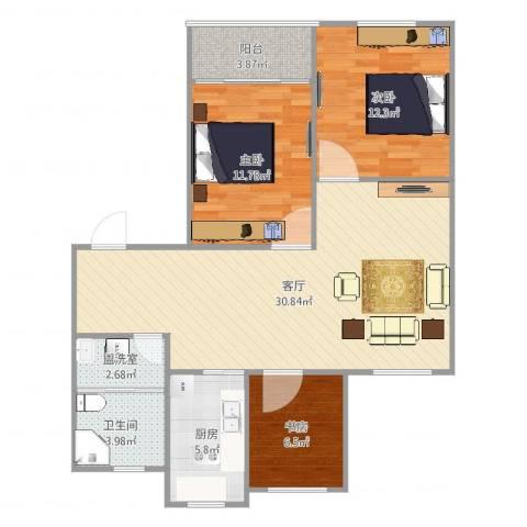 教工新寓3室3厅1卫1厨97.00㎡户型图