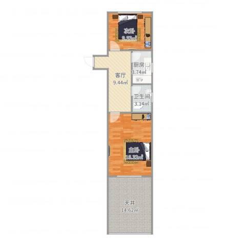 闻喜路930弄小区2室1厅1卫1厨77.00㎡户型图
