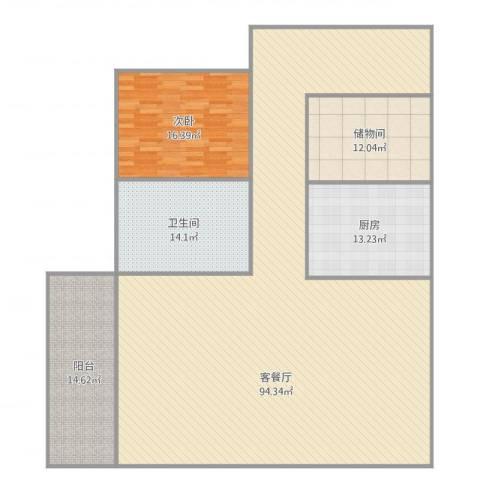 岭南花园1室2厅1卫1厨216.00㎡户型图