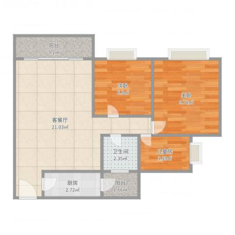 凯茵新城雅湖居3室2厅1卫1厨69.00㎡户型图