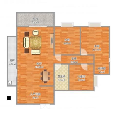 碧阳国际城3室1厅1卫1厨116.00㎡户型图
