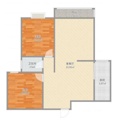 sdsf2室2厅1卫1厨80.00㎡户型图