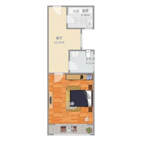上钢四村1室1厅1卫1厨45.57㎡户型图