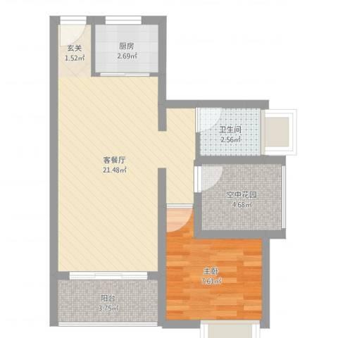 德丰二月天1室2厅1卫1厨53.00㎡户型图