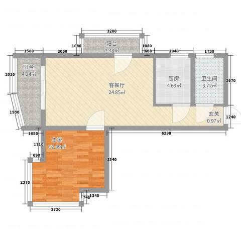 海日大厦1室2厅1卫1厨78.00㎡户型图