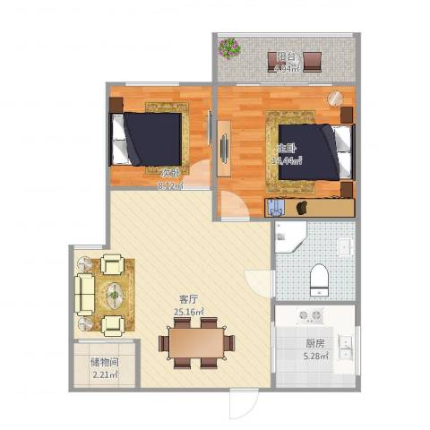灵峰公寓2室1厅1卫1厨88.00㎡户型图