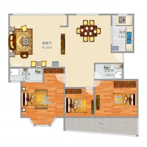银河湾3室2厅2卫1厨120.00㎡户型图