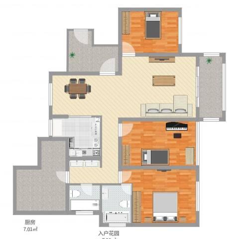 万悦城3室2厅2卫1厨156.00㎡户型图
