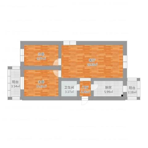 龙泉里2室1厅1卫1厨81.00㎡户型图