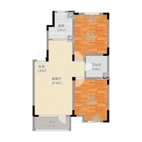 保利溪湖林语四期2室2厅2卫3厨91.00㎡户型图