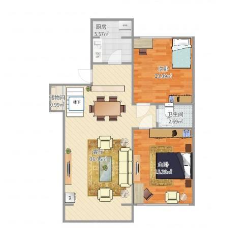 海景假日2室1厅1卫1厨99.00㎡户型图