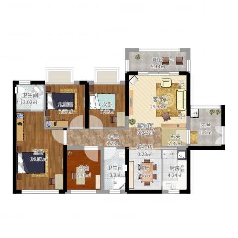 保利未来城市4室2厅2卫1厨107.00㎡户型图