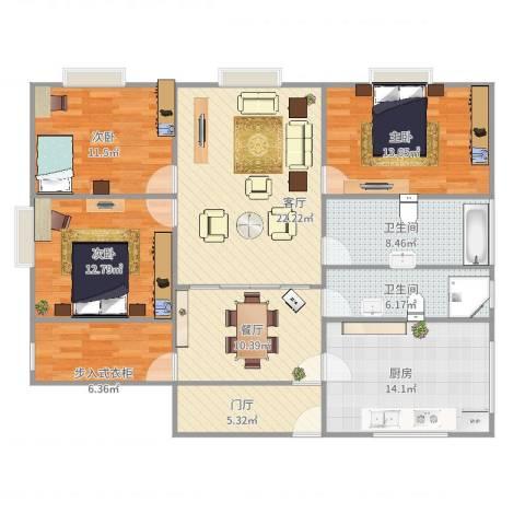 珠江香樟南园3室2厅2卫1厨149.00㎡户型图
