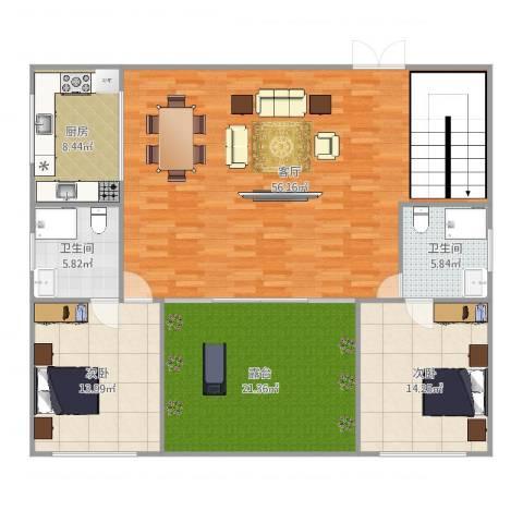 时代依云小镇2室1厅2卫1厨157.00㎡户型图