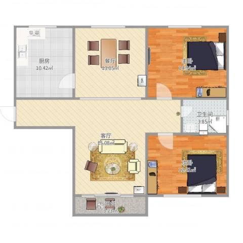 东方康德家园2室2厅1卫1厨103.00㎡户型图
