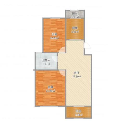 武夷花园牡丹园2室1厅1卫1厨94.00㎡户型图