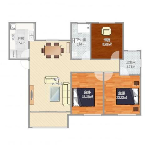 璟悦府3室1厅2卫1厨105.00㎡户型图