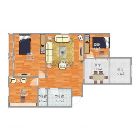 高科花园2期3室2厅2卫1厨86.00㎡户型图